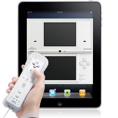 (iPad内にDS画面があり、Wiiリモコンで操作することも可能)