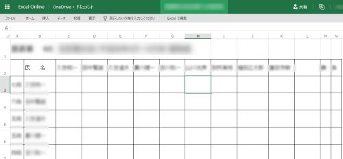Excel Onlineでエクセルを編集中の画面、元のExcelファイルでは氏名から右下へ罫線があるのに表示されない